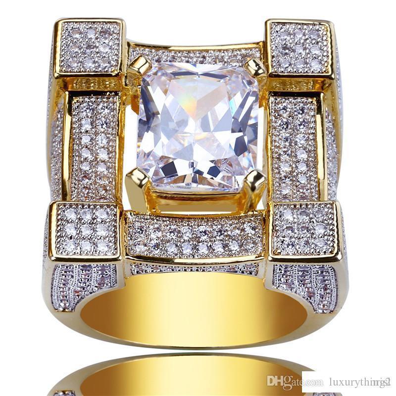 Hip Hop fuori ghiacciato zircone anello 3D Suqare oro placcato colore Anelli per regalo dell'amante maschio Le donne di Bling personalità Fashion Glamour gioielli
