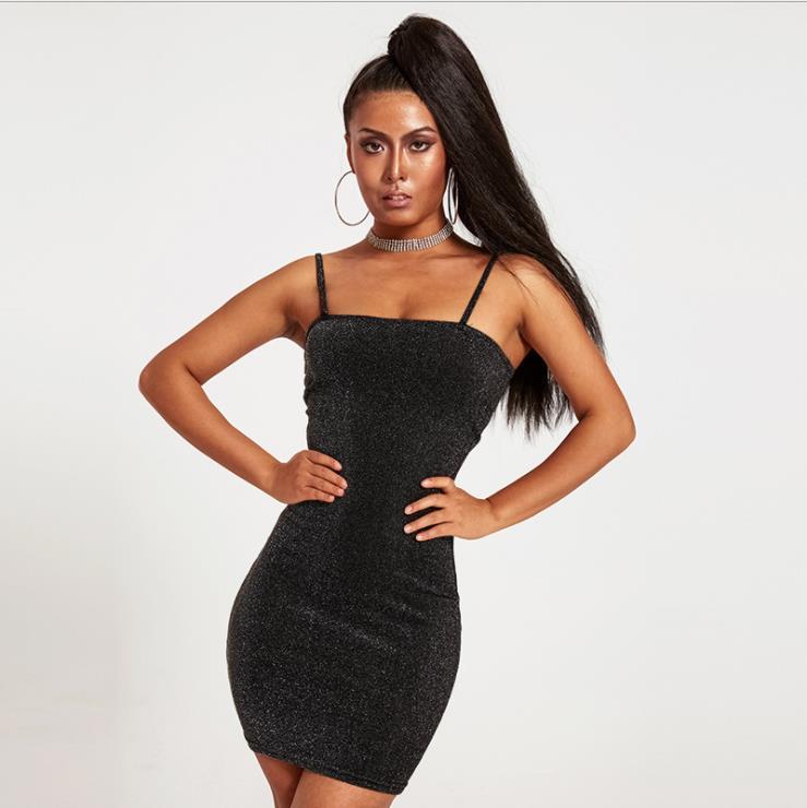 2020 vestido de las mujeres del vestido Shinny Cuerpo de espagueti para mujer Strep ajustado de los vestidos mini vestido atractivo Cluewear ropa del verano de las señoras del partido