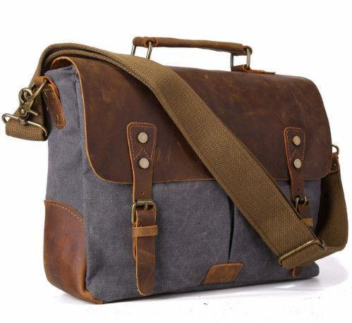 Vintage Men's Canvas Messenger Bag Horse Crazy Leather Man Soft Bags School Bag Man's Lock Military Hangbags Messenger Bags Y19061803