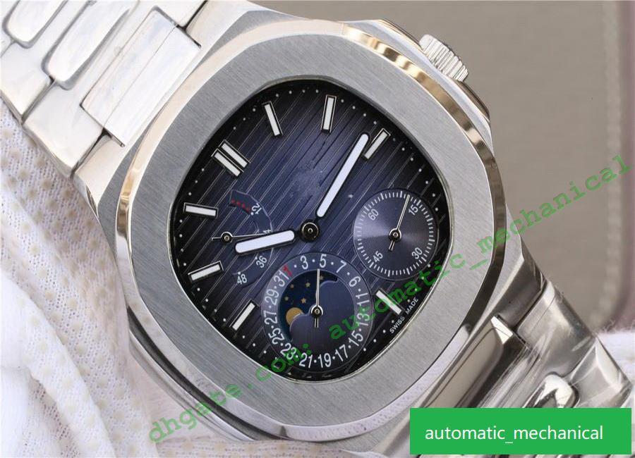 5712 mode calendrier fonction de phase de bande de montre en acier fin avec ligne de gradient de luxe mouvement mécanique à remontage automatique montres montres design