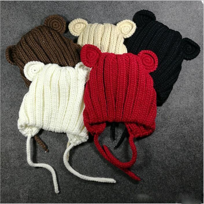 Baby Hats Bear Ear Knit Cap Toddler Wool Beanie Winter Skull Caps Outdoor Casual Hats Fashion Caps Girls Beanie Xmas Headwear Caps