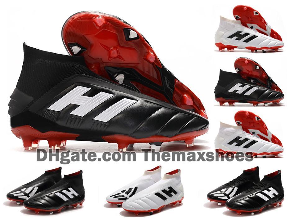 Yeni Klasikler Predator Mania 19+ 19.1 FG Siyah Beyaz Laceless 19 + x Kayma-On High Bilek Erkekler Futbol Ayakkabı Kramponlar Futbol Boots Ucuz Boyut 39-45