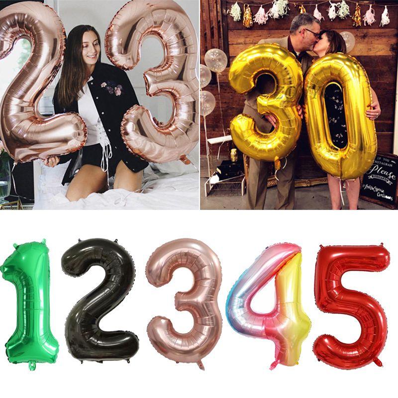 40inch الكبير احباط عيد ميلاد بالونات الهليوم عدد بالونات عيد ميلاد سعيد حزب زينة لعبة أطفال أرقام زفاف العرسان الهواء Globos
