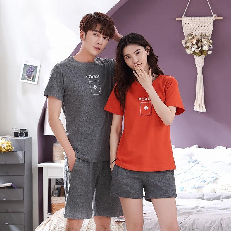 Chun Mi par de pijamas de algodón Pantalones cortos de la capa de manga corta y pantalones cortos desgaste al aire libre ocasional del juego en casa