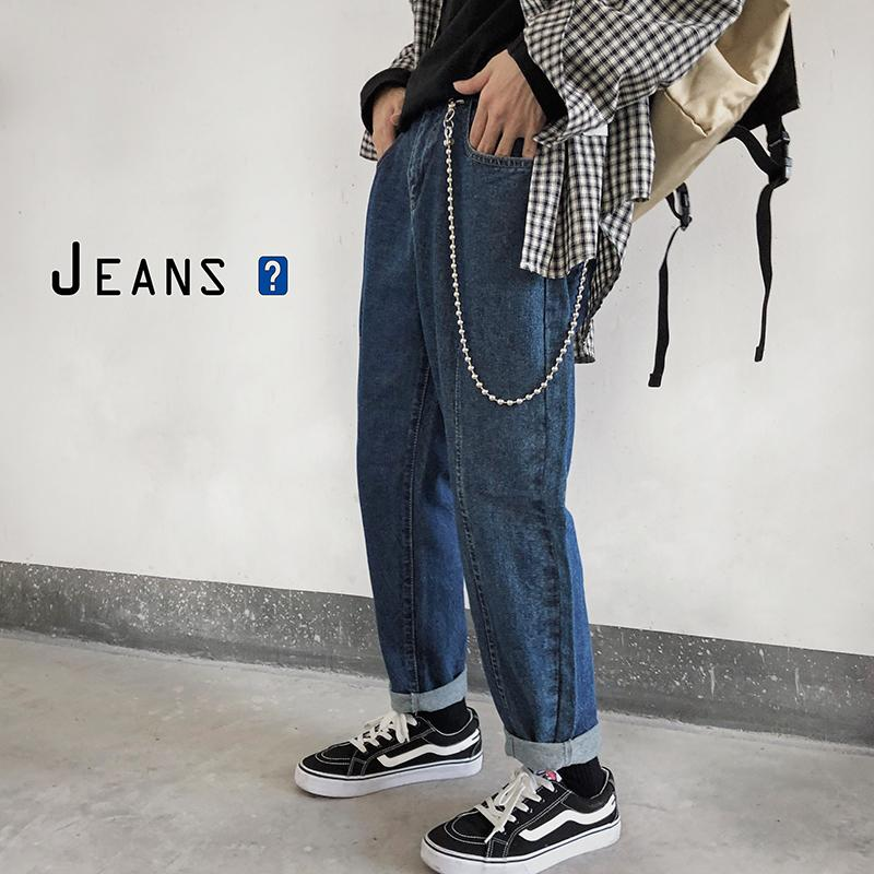 Invio della catena Uomo Nero / pantaloni blu per il tempo libero Bound piedi Casual Cowboy Stretch slim fit Cargo tasca dei jeans denim Biker pantaloni S-XL