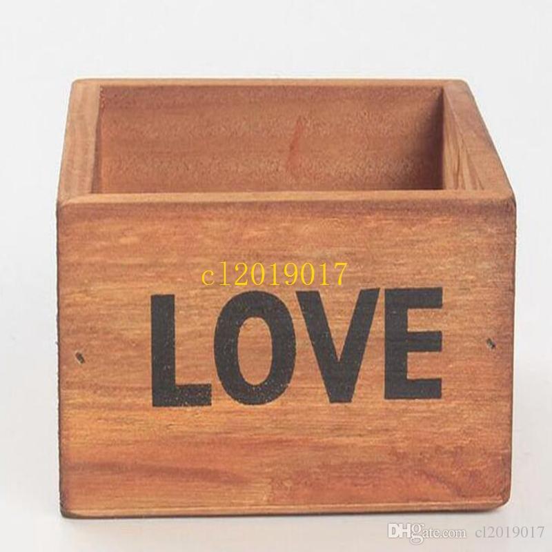 150pcs / lot 소박한 천연 나무 LOVE 편지 즙이 많은 식물 꽃 침대 냄비 상자 홈 가든 파종기 무료 배송 1
