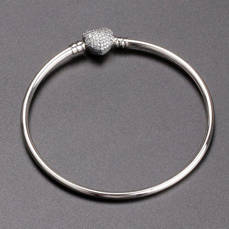 الجديدة الكلاسيكية الفاخرة سوار 925 فضة استرليني لباندورا سحر سيدات الكرة مجموعة CZ أزياء الماس على شكل قلب سوار
