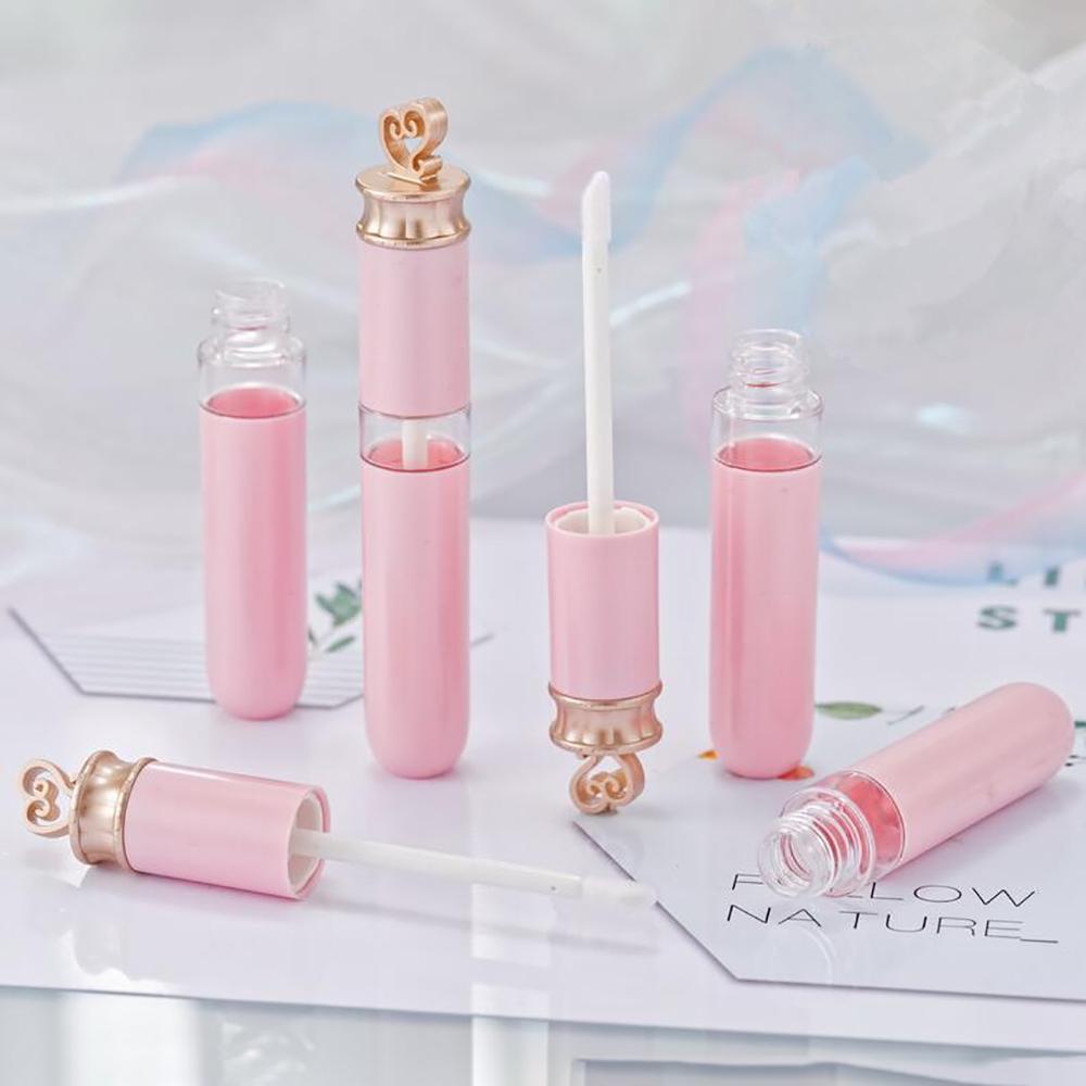 50pc 6ml Rose vide Or Tubes Brillant à lèvres en forme de coeur Top Rouge à lèvres Rouge à lèvres Emballage cosmétique Récipient en plastique Bouteille rechargeable