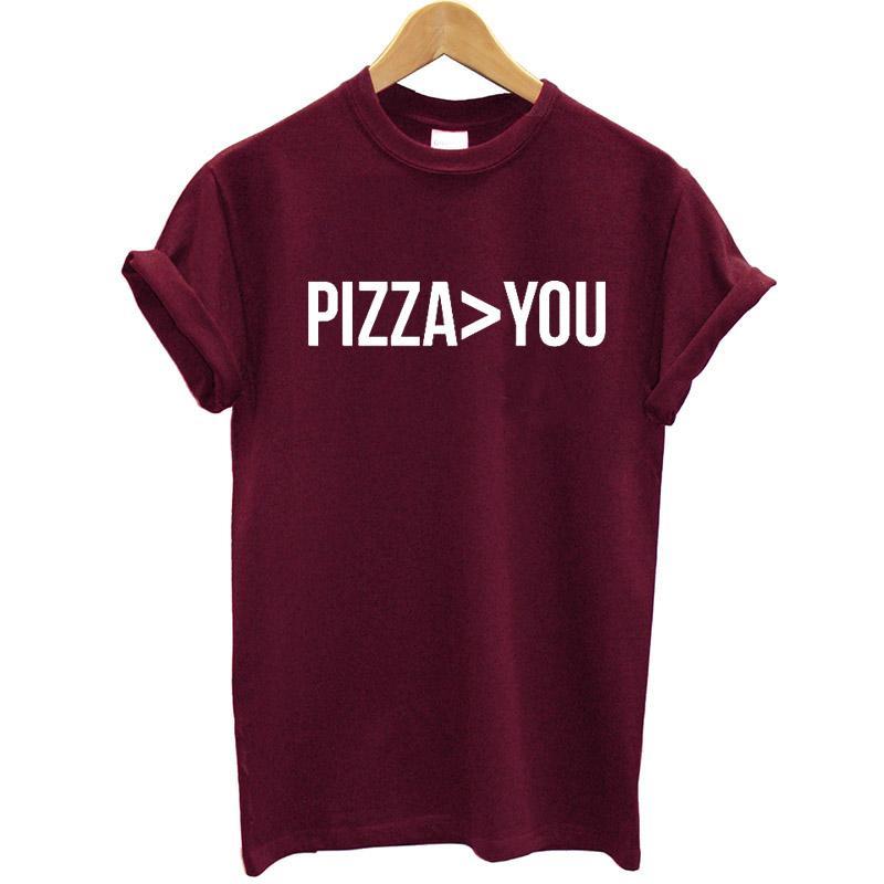 La pizza es más importante que usted Impreso Camiseta de manga corta de algodón Camisetas divertidas de verano Tops Streetwear Camiseta de talla grande
