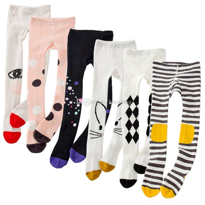 9 Styles Spring Girls Tights Cartoon Cat Baby Girl Pantyhose Cotton Knitted Cotton Cute kids Stocking Baby Pantyhose Tight M418