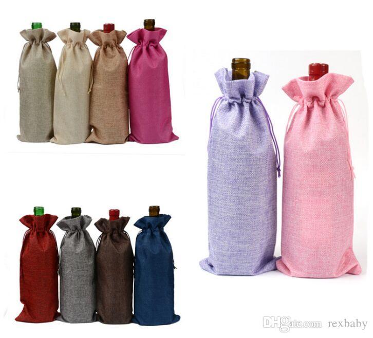 18 ألوان الكتان الرباط أكياس النبيذ الغبار النبيذ زجاجة التغليف حقيبة الشمبانيا الحقائب حزب هدية التفاف