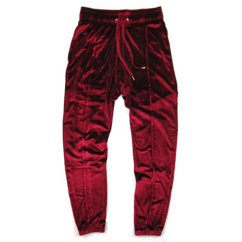 Aleirmires Men Hip Hop Velvet Jogger Pants 2018 Autumn New Solid Color Drawstring Elastic Waist Velour High Street Mens Joggers