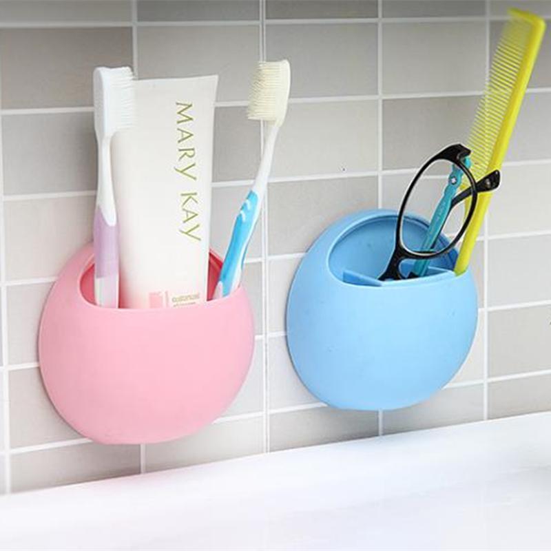 Carino Spazzolino Holder Ganci Ventose supporto dell'organizzatore accessori per il bagno spazzolino da denti Coppa montaggio a parete Set bagno forniture