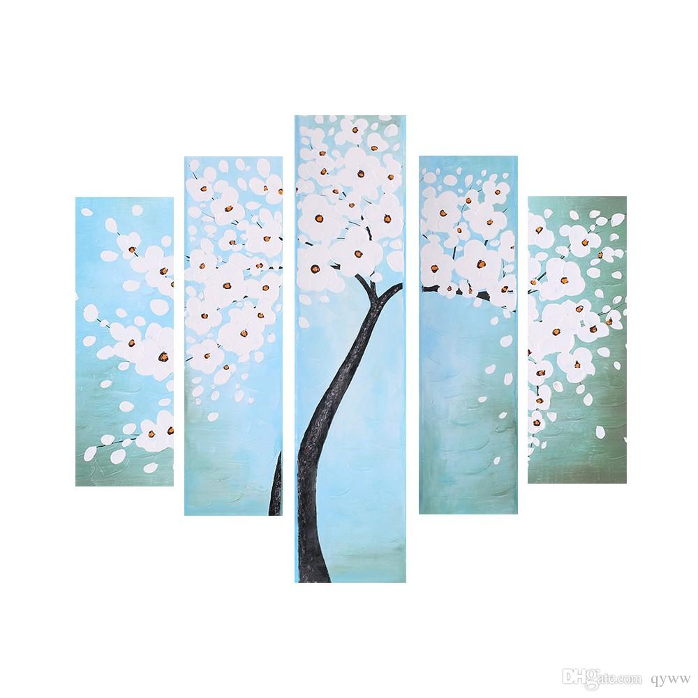5-панельная рама водонепроницаемый 3D ручная роспись масляной живописи абстрактный цветок дерево холст картина стены искусства декора для гостиной офис
