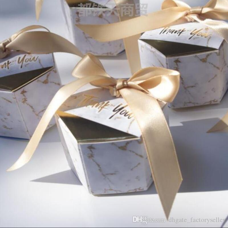 100pcs New Creative Marbling style Candy Boxes Wedding Favors Party Supplies Baby Shower thanks Gift Box LX7037