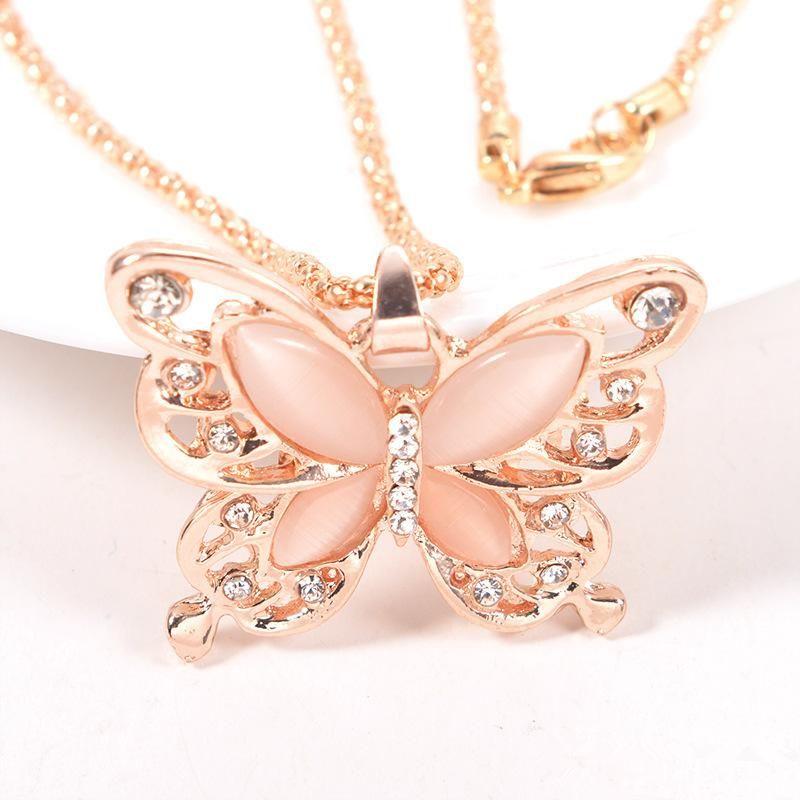 Chaîne d'or Magnifiquement Collier mode plaqué or rose Opale Pendentif papillon Collier chaîne chandail charme cadeau de papillon Collier DHL Fre