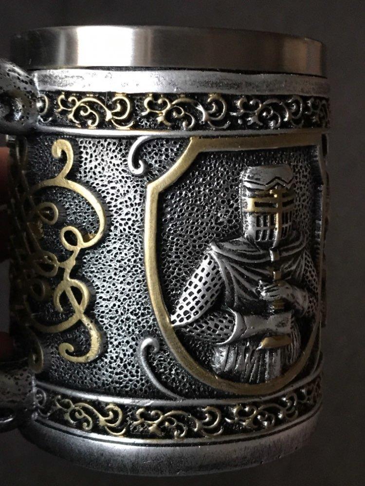 Medieval Templar Kreuzfahrer-Ritter-Becher Rüstung Ritter des Kreuzes Bier Stein Tankard Kaffeetasse T200525