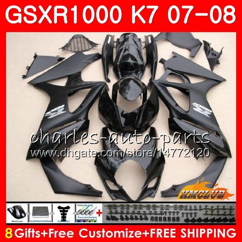 Körper für Suzuki GSXR-1000 GSX-R1000 Glossy Black Hot GSXR1000 07 08 BODYWORK 12HC.28 GSX R1000 07 08 K7 GSXR 1000 2007 2008 Full Fouring Kit