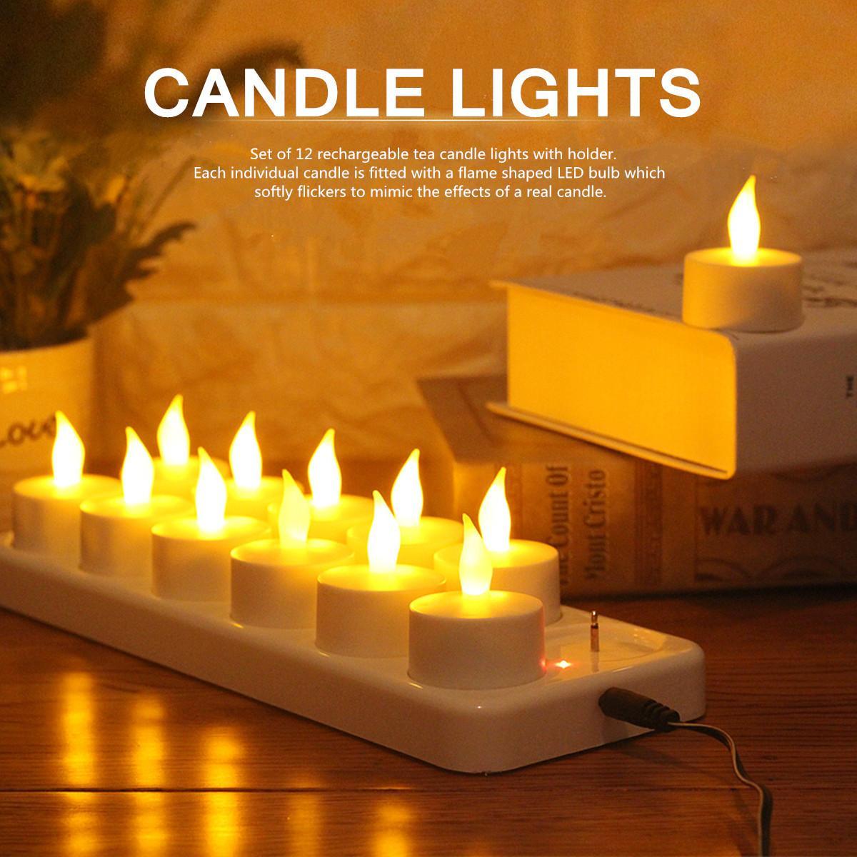 12 قابلة للشحن الخفقان LED الشاي أضواء الشموع مع حامل للعشاء الزفاف لهب على شكل الصمام لمبة لحفلات الزفاف طرف T200108