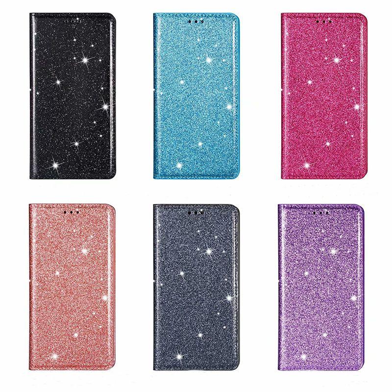 Cartera de cuero de Bling del brillo soporte magnético de la caja de tarjetas de identificación para Samsung S7 S8 S9 PLUS NOTE8 NOTE9 Nota 10 PLUS A10 A20 A30 A40 A50 A60 A70 A20E