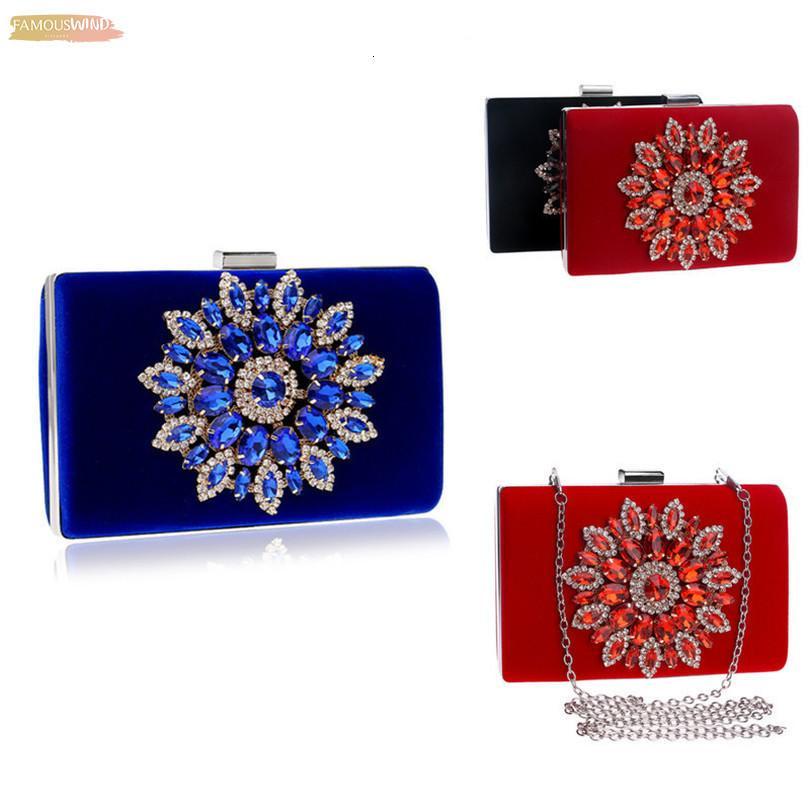 Bayanlar Çiçek Kristal Kadınlar Çanta Kırmızı Siyah Mavi Altın Omuz Çantaları Metal Gün Manşonlar Çiçek Çanta Düğün Cüzdan