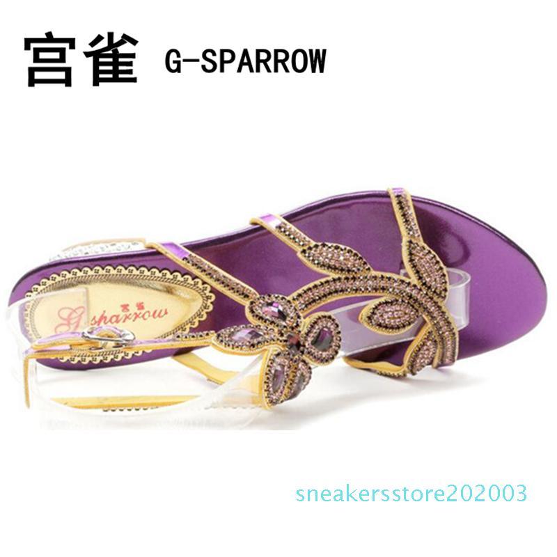Free shipping female sweet crystal flower 2.5cm sandal pumps, women's big size colorful diamond buckle sandal pumps 33-44 s03