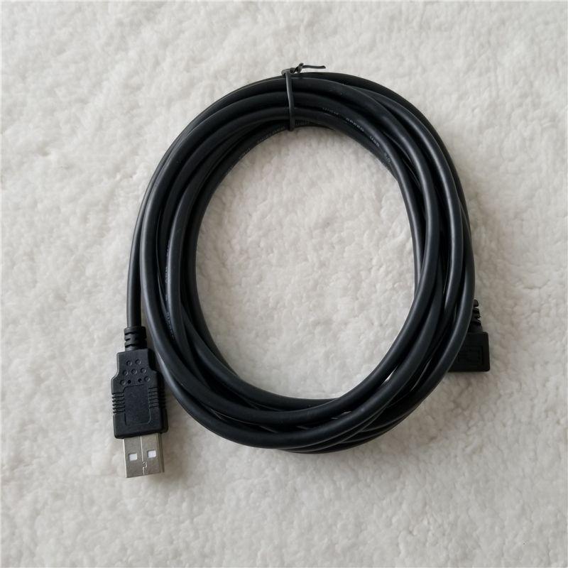 Venta al por mayor 100 unids / lote ángulo izquierdo 90 grados 5Pin Micro B a USB 2.0 A macho a macho adaptador convertidor largo cable de carga de datos 3M
