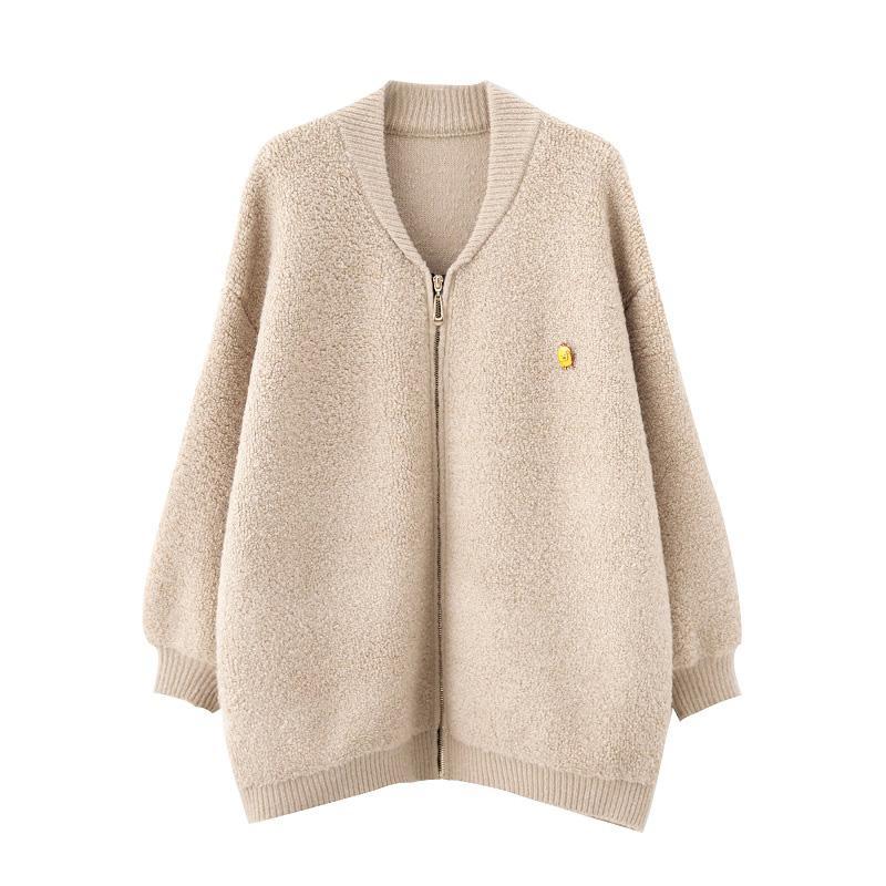 2019 봄 가을 여성 큰 사이즈 XL-3XL 새로운 간단한 캐주얼 스웨터 코트 200kg 얇은 고체 지퍼 카디건 스웨터 코트를 풀어