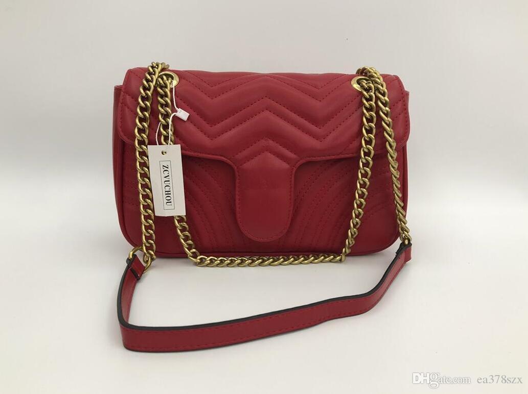 Moda Aşk kalp V dalga desen Satchel tasarımcı omuz çantası zincir çanta lüks Crossbody Lady Tote
