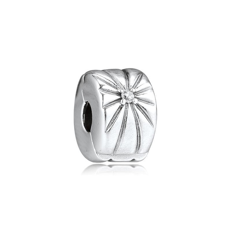 CKK pulsera apta Sunburst Clips encantos de plata 925 granos originales de fabricación de la joyería de la plata esterlina Perle Berloques