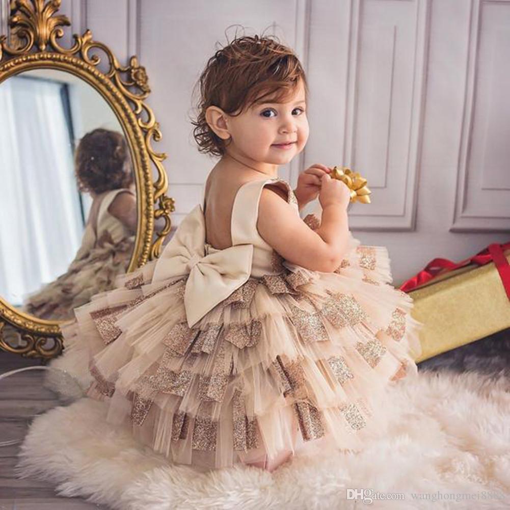 2019 Sommer ärmelloses Baby Mädchen Kleinkind Party Tutu Kleid Rüschen Bowknot Pageant Hochzeit Geburtstag Prinzessin Mode Taufe
