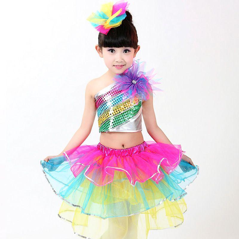 Performance Stage Sequined Rainbow Color Flower Jazz Ballet Dance Tutu Dress Two Piece Girls Dancewear