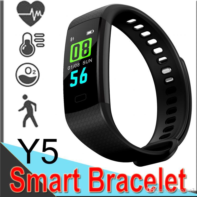 Y5 Smart-Armband-Armband Fitness Tracker Bildschirm Herzfrequenz Schlaf Pedometer Sport Wasserdicht Aktivität für Samsung ID115 50 Pack DHL geben