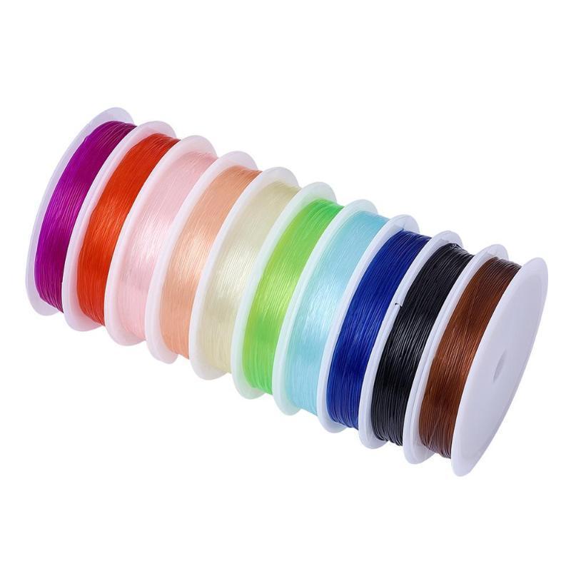 10Roll Elastik Kristal Bilezikler Stretch Konu Dize Kolye DIY Takı Karışık Renk Bulguları Yapımı İçin Kornişleme Kablolarını Konu