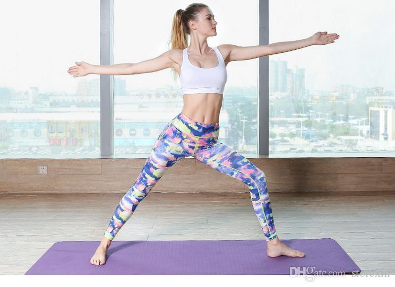2019 pantalons de yoga pour femmes imprimés à séchage rapide Pantalons sport élastiques Fitness Fitness Workout Running Tight Sport Pantalons de sport
