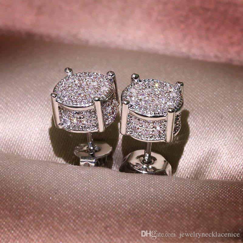 Unisex Men Women Earrings Studs Yellow White Gold Plated Sparkling CZ Simulated Diamond Earrings For Men Women