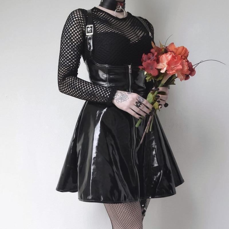 Vestidos casuais liser mulheres gótico sexy vestido preto punk zipper vintage feminino meninas pu couro espaguete