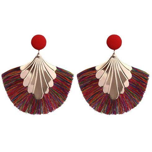 Cotton Tassel Earrings Bohemian Fan Dangle Hook Drop Earrings Set for Women Girls Eardrop Gift Ear Jewelry