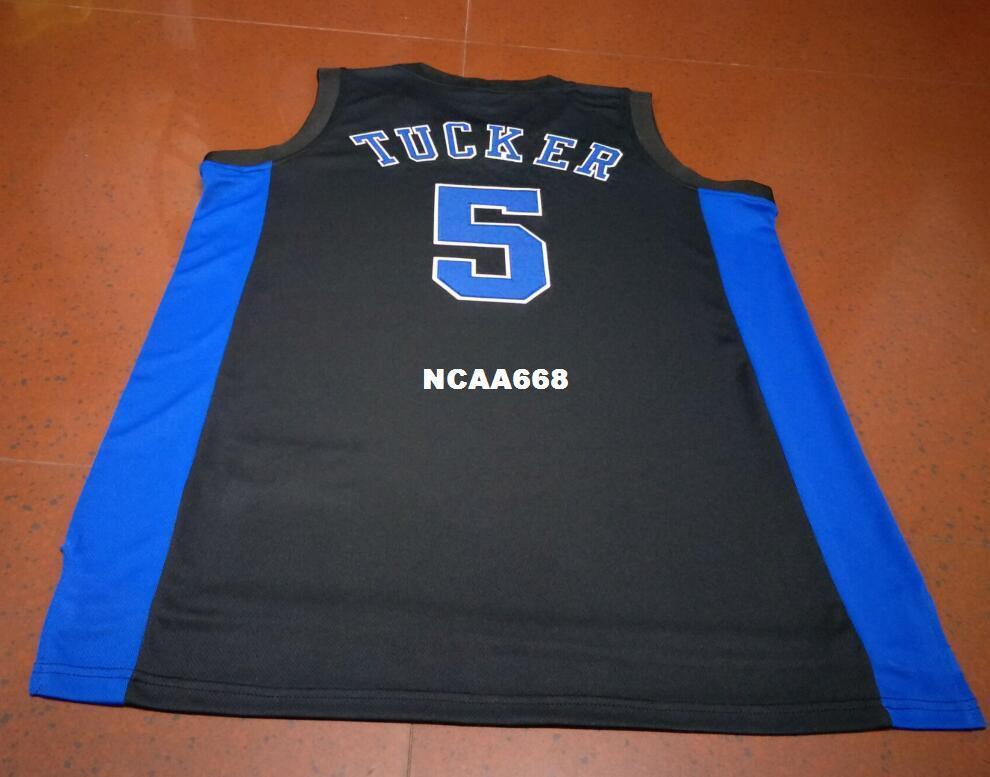 Мужчины # 5 Duke Blue Devils Tucker Ретро Джерси синий белый Ретро Джерси Новый Материал или обычай на любое имя или номер баскетбольного свитера