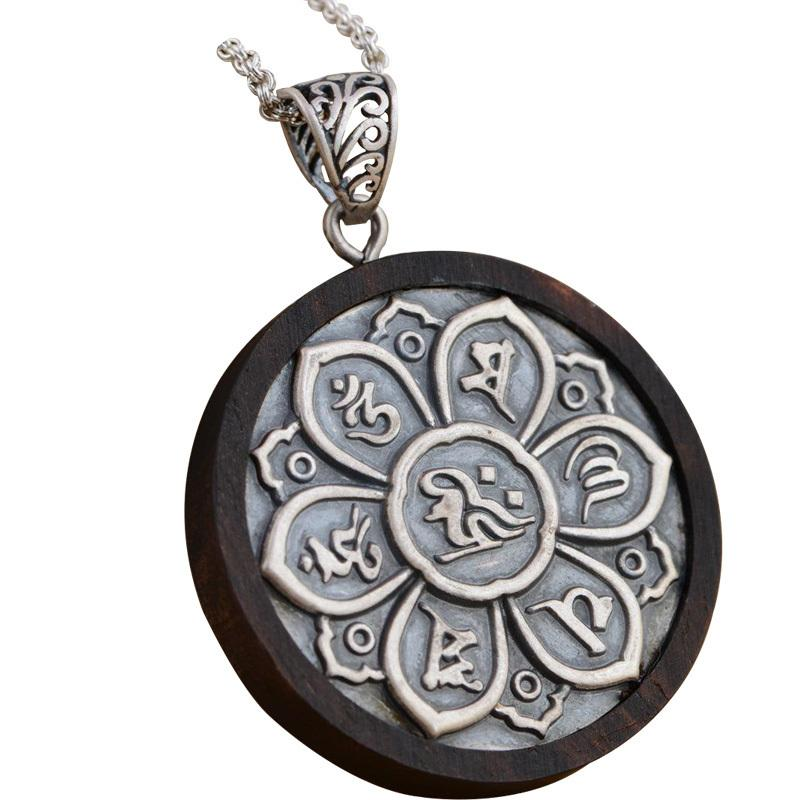 Real 925 Sterling Silver Blackwood Om Mantra Pendant Six Words Carved Tibet Pendant Prayer Yoga Chakra Buddhist Jewelry Y19061703