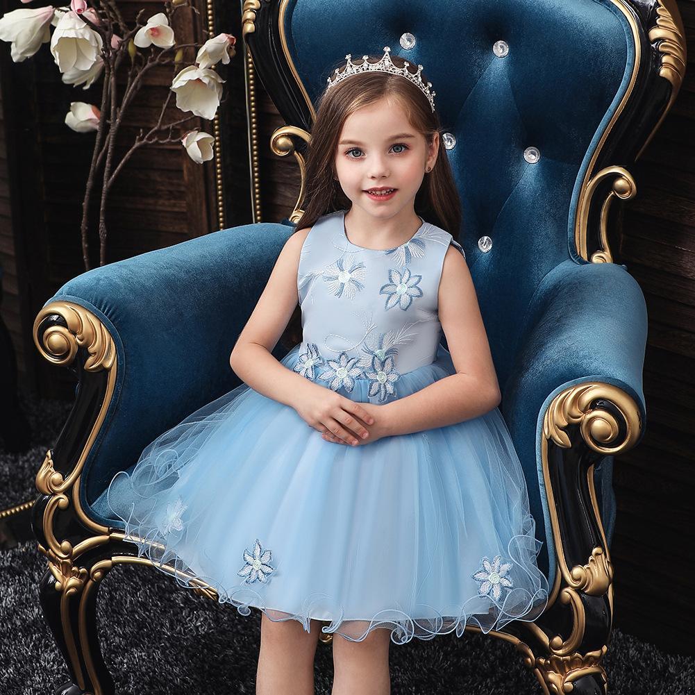da menina pequena vestido formal Vestido Crianças Moda Princesa Crianças Vestido bordado Bow Brithday Dresess 80 90 100 110 120