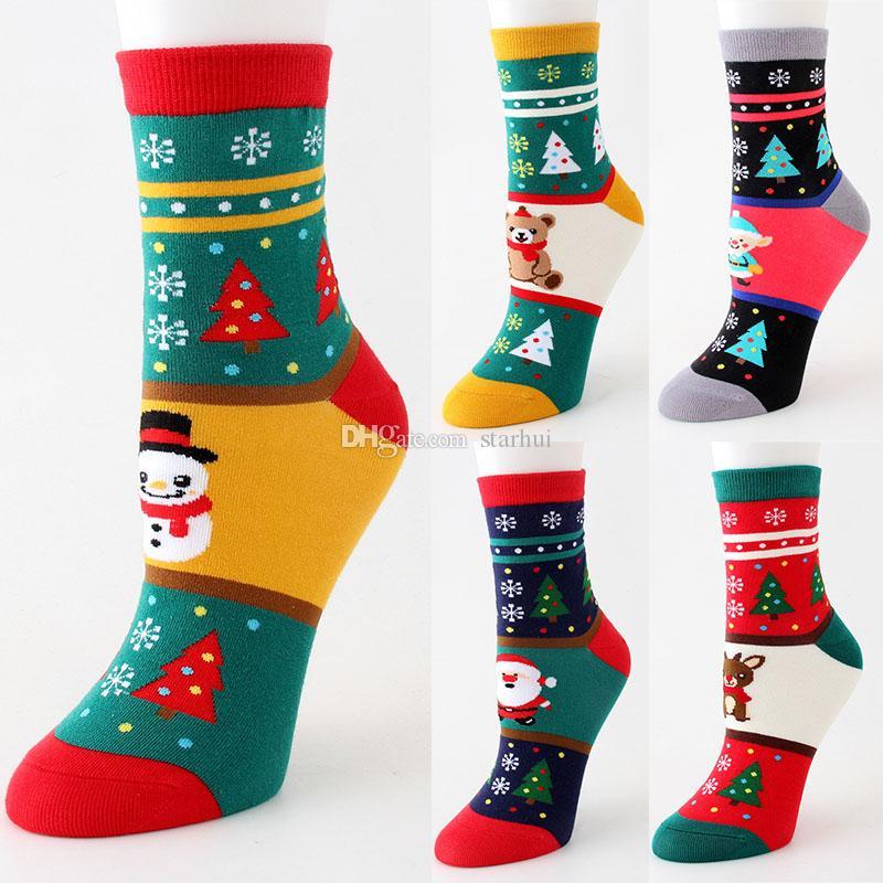 만화 크리스마스 양말 겨울 따뜻한 여자 스타킹 성격 만화 엘크 양말 홈 크리스마스 장식 5 스타일 WX9-1680