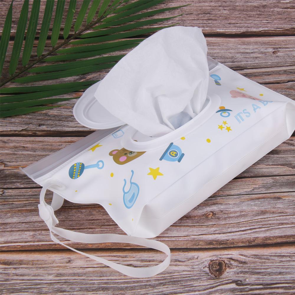 Quaslover Экологичный Детские влажные салфетки Box влажных салфеток Box Чистящие салфетки сумка для переноски Раскладушка Привязать ремень Протрите Контейнер Case