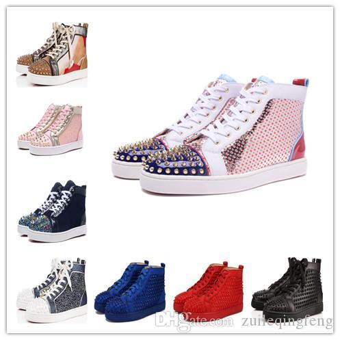 2019 Nouveau Designer Bas Rouge Slip-sur rouleau Chaussures bateau Casual Hommes Femmes Suede en cuir véritable cristal de Spike Sport Sneakers partie