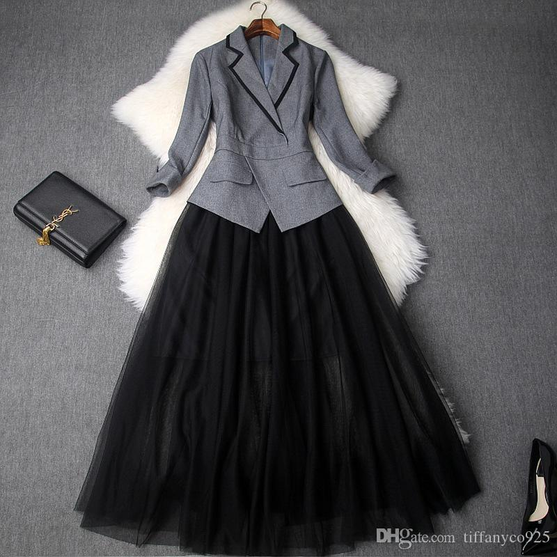 2020 Spring Luxury 3/4 Рукав Зубчатый-отворотом Pure Color Mesh Щитовые Mid-теленок One Piece платье моды Повседневные платья LD15T9091