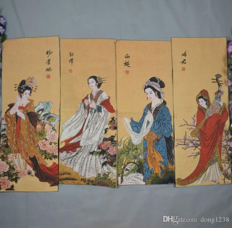 Chinese Thangka brocade Four screen embroidery Ancient beauty painting