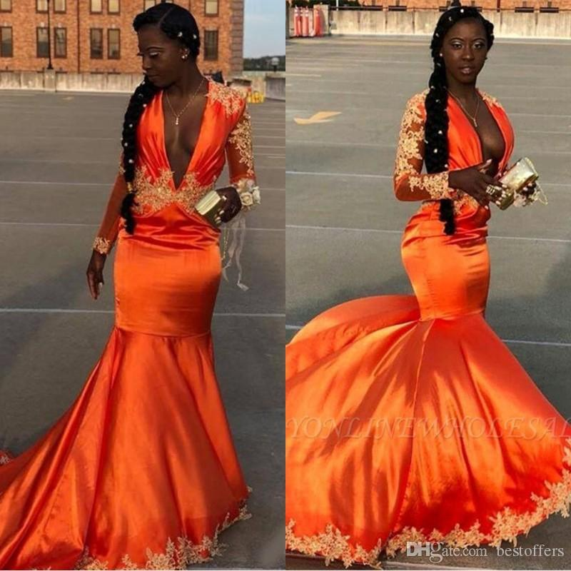 African Orange Long Sleeves Black Girl Prom Reflective Dresses 2019 Deep V  Neck Appliques Mermaid Lace Plus Size Evening Gowns BC1058 Off The Shoulder  ...