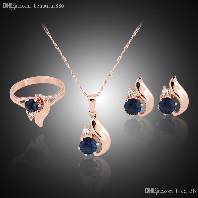 Luxus Gold Farbe Zirkon Anhänger Halskette Ohrstecker Ring Kleine Hochzeit Schmuck Drei Sätze für Kinder Mädchen Kinder Baby