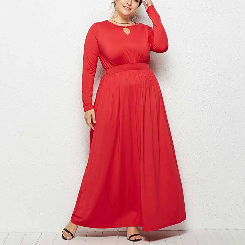 Elegante Casual Mulheres Vestidos Soltos Grandes Tamanhos Vestidos de Manga Longa Cor Sólida Das Mulheres Roupas de Outono Estilo Casual O-pescoço Vestido