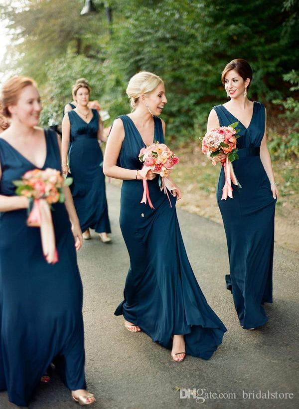 Dark Teal Blue bridesmaid dresses Long Rustic Country Wedding Guest Dress V Neck Silk Satin Cowl Back Evening Gowns Maid Of Honor 2019